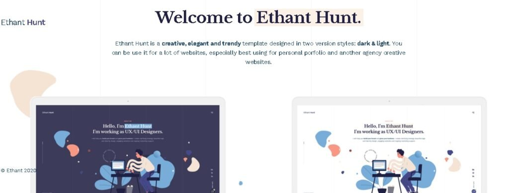 Unique personal website template or theme for your personal portfolio