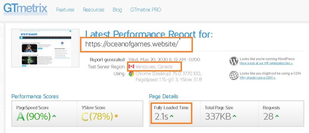 Review Results snapshot of website hosted on Namecheap servers (GTMetrix Speed Test)