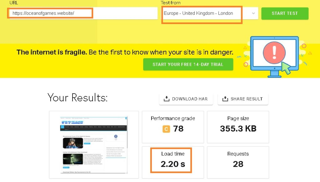 Review Results snapshot of speed test conducted for website hosted on Namecheap servers (Pingdom website speed test), Namecheap hosting reviews and opinion