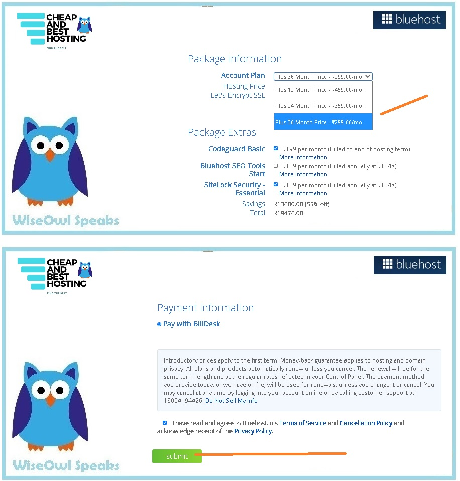 Bluehost Coupon and guide about How to pay and make payment. Applying Bluehost Coupon to ensure best discount.