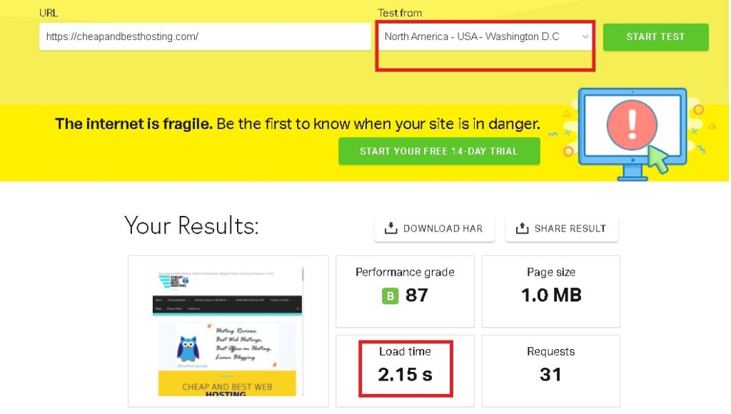 Hostinger India Speed Review using Pingdom tool