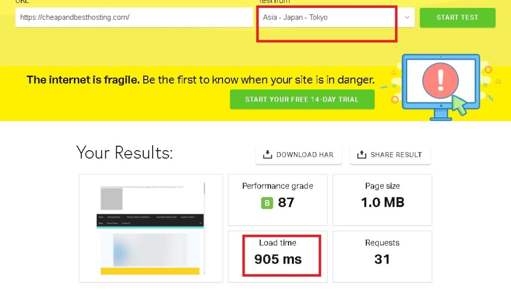 New speed test to check Hostinger India's page load time from Asia