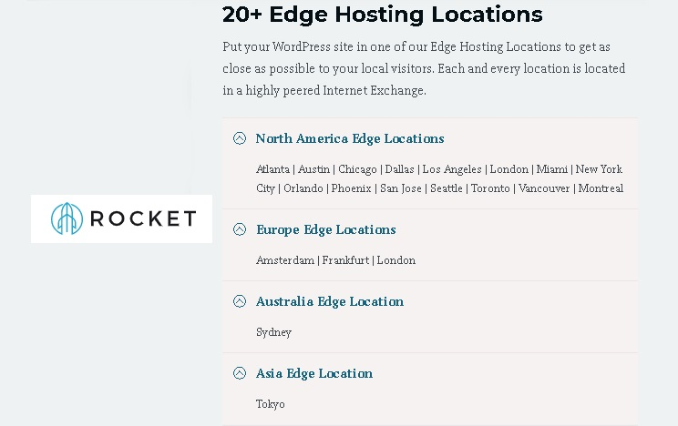 On Rocket's Edge Locations, Complete list of 20 edge locations in America Europe Australia and Asia