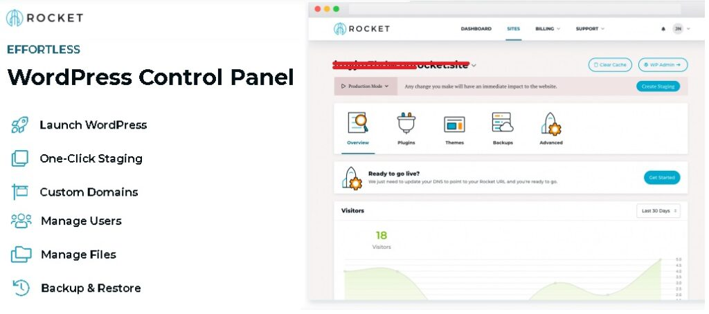 What kind of Control Panel is Offered by Rocket?