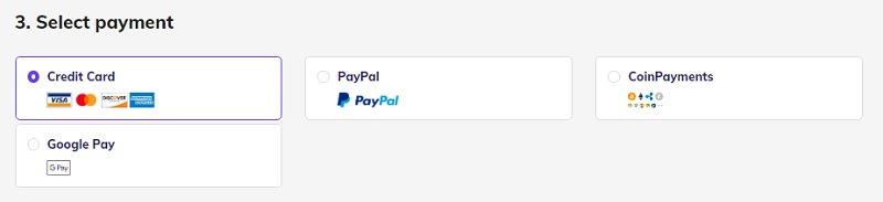 select a payment option on hostinger