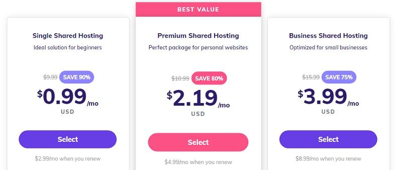 select a plan on hostinger