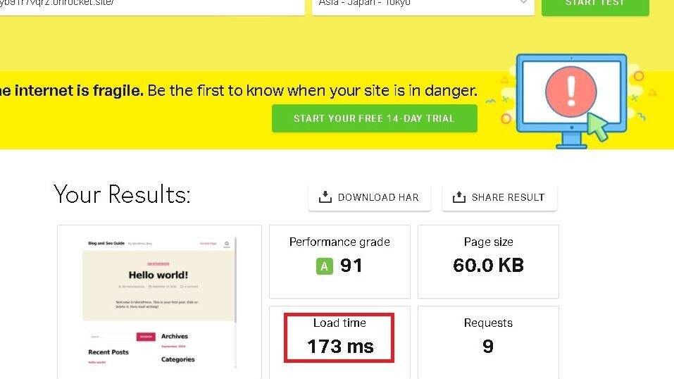 Result of speed test done through Pingdom from Asia.