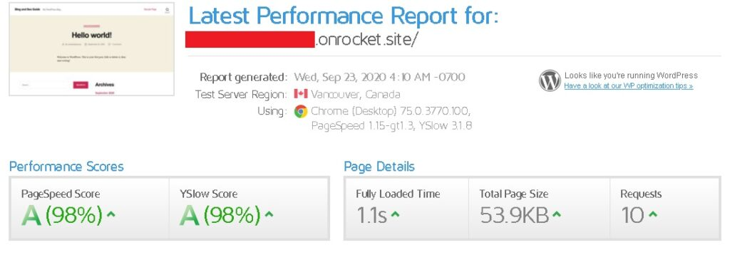 Page load test results using GTMetrix Tool and test location Canada.