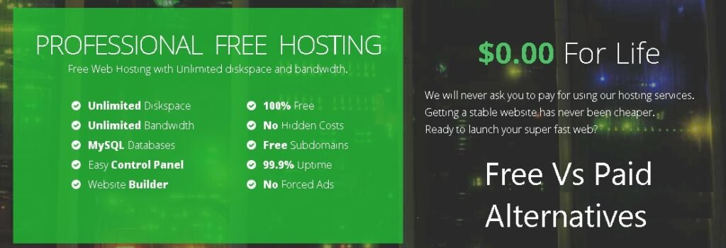 profreehost hosting review with list of 10 alternatives.