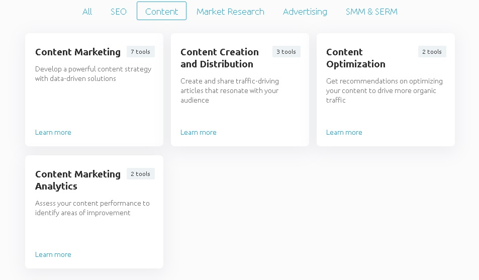 semrush content marketing features and pricing