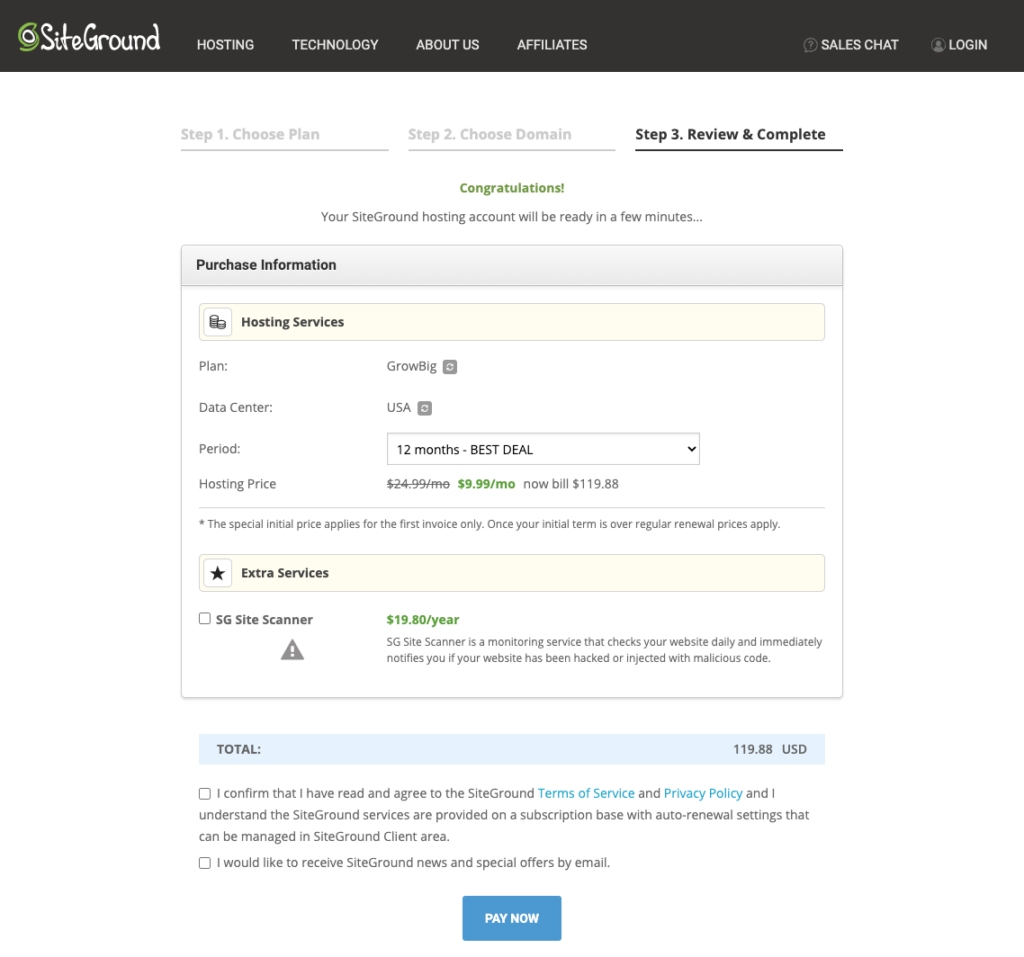 Step3 - Siteground Black Friday Signup Process