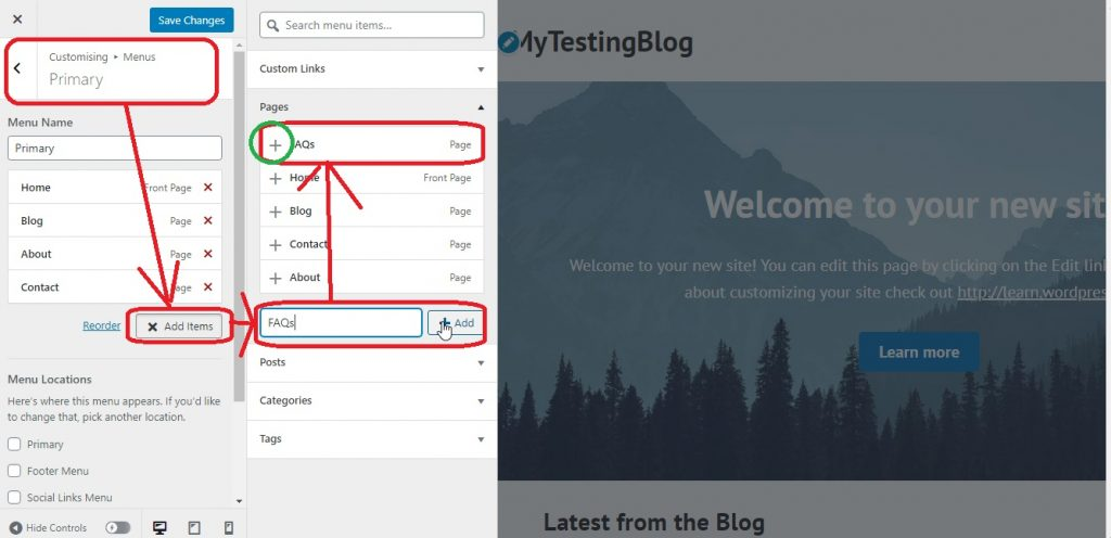 add new menu to menus, How to create a free WordPress blog