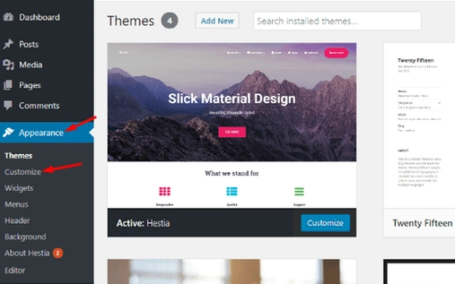 customizations settings in wordpress, tap on customize, Themes and Plugins Installation - WordPress
