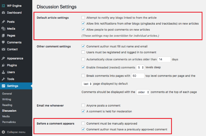 discussion settings in wordpress, Configuration in wordpress