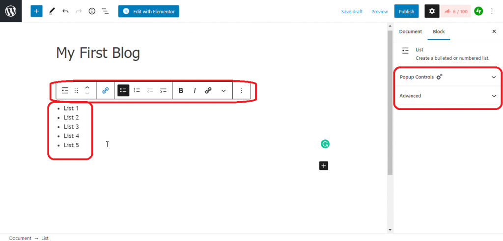 add list in wordpress blog, Add and Publish your first Blog Post