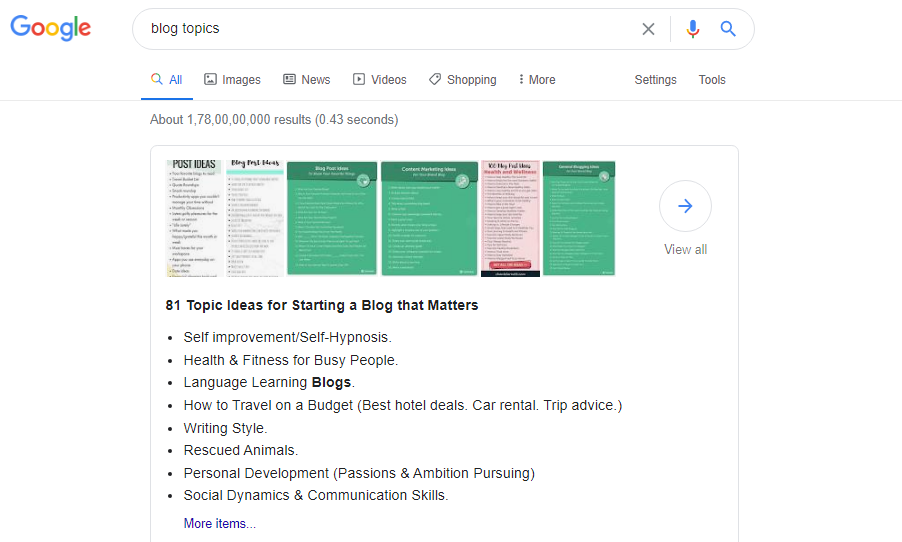 How and Where to Find Blog Post Ideas, google result