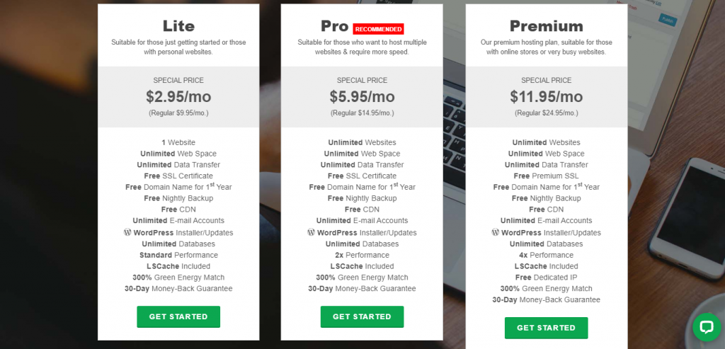 greengeeks.com plans for hosting, select a hosting plan for for your wordpress blog