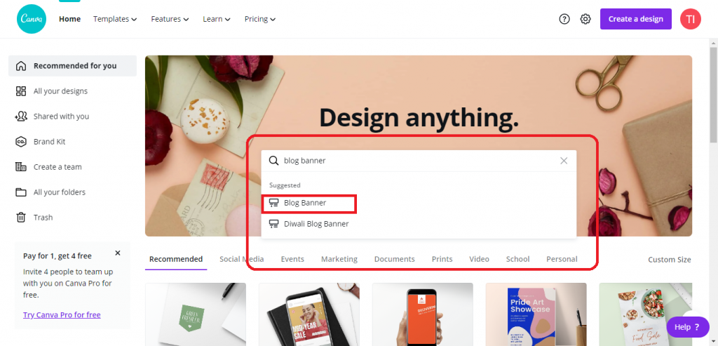 search for blog banner in canva, How to create Blog Banners