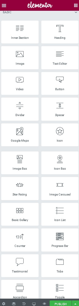 list of elements in elementor plugin