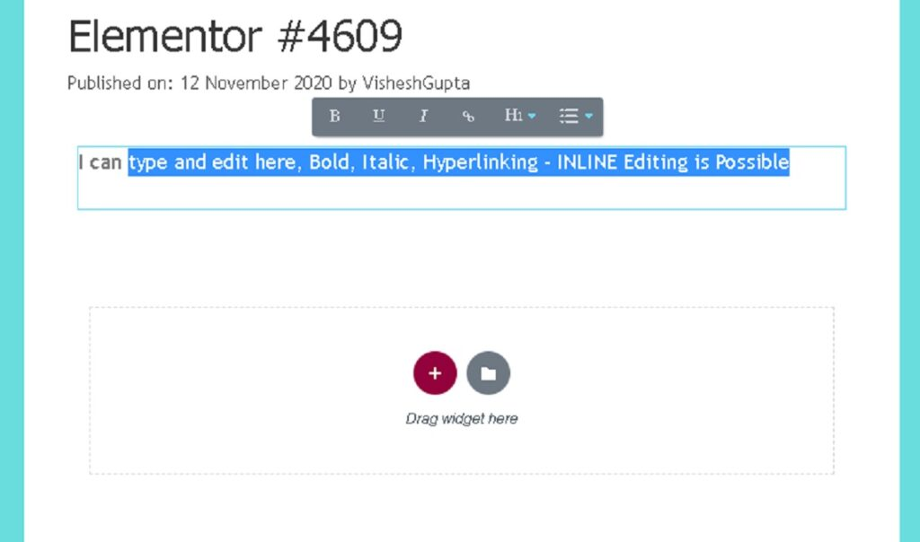 our finding on Elementor inline editing feature