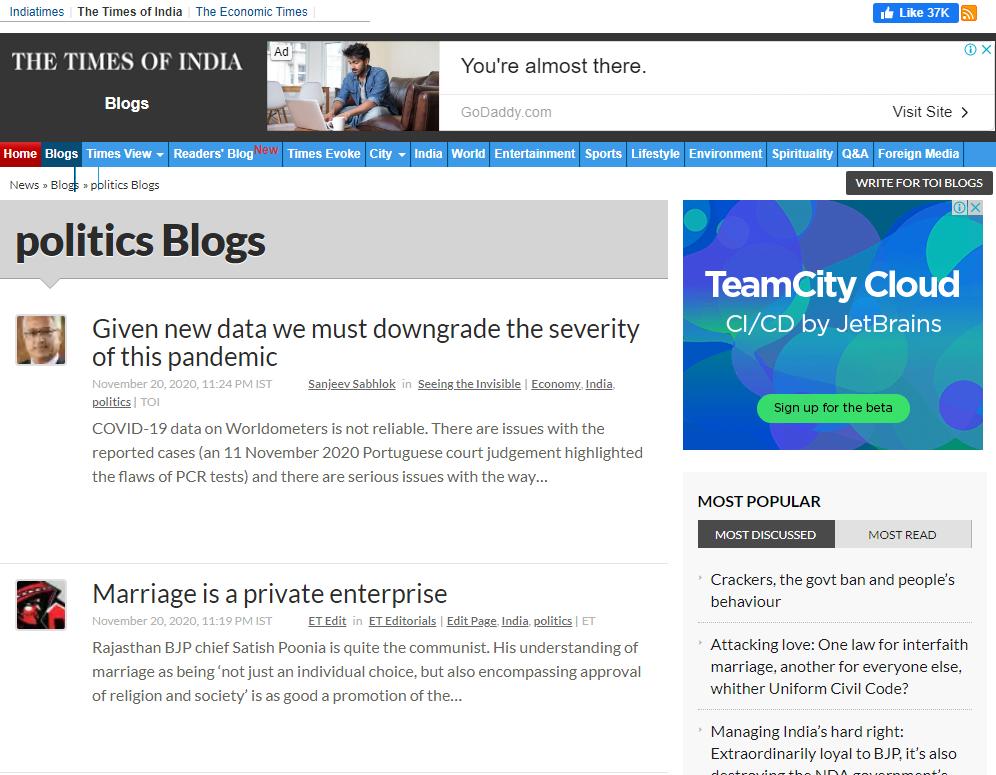 Niche Ideas for Blogging, politics blog