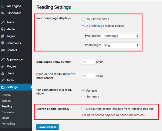 reading settings in wordpress, Configuration in wordpress