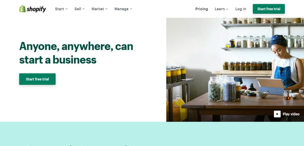 shopify web design and hosting platform
