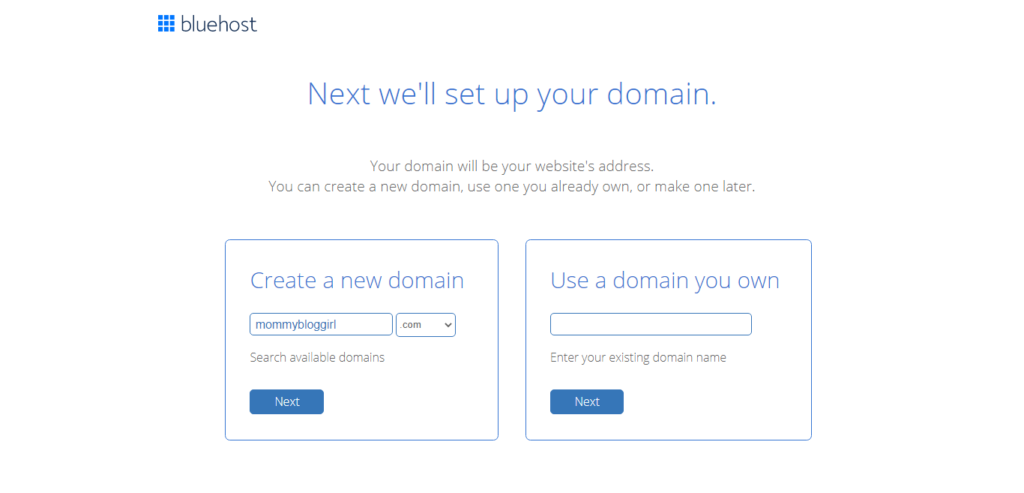 select domain on bluehost