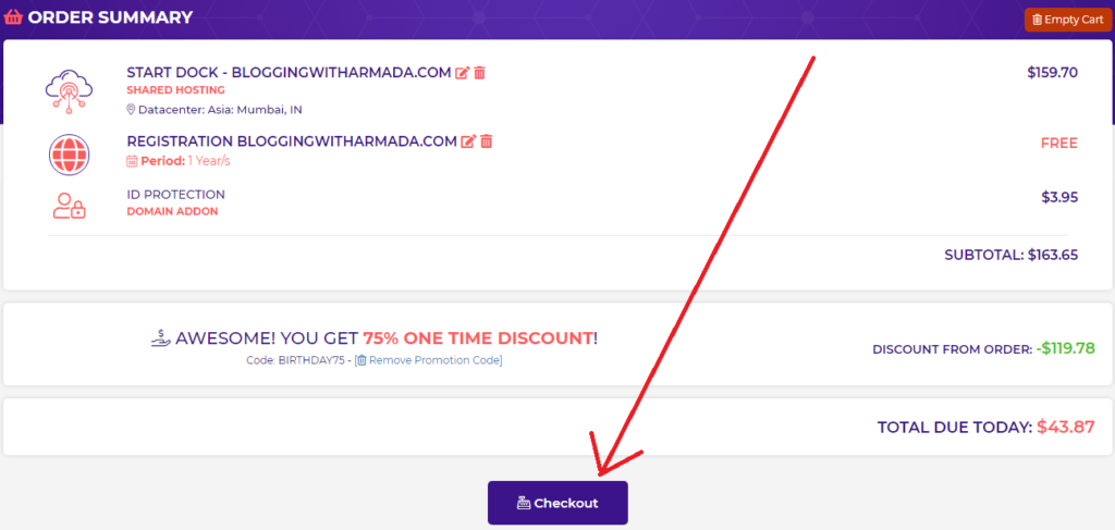 details regarding Payment option, applying coupon to process new hosting order- complete review