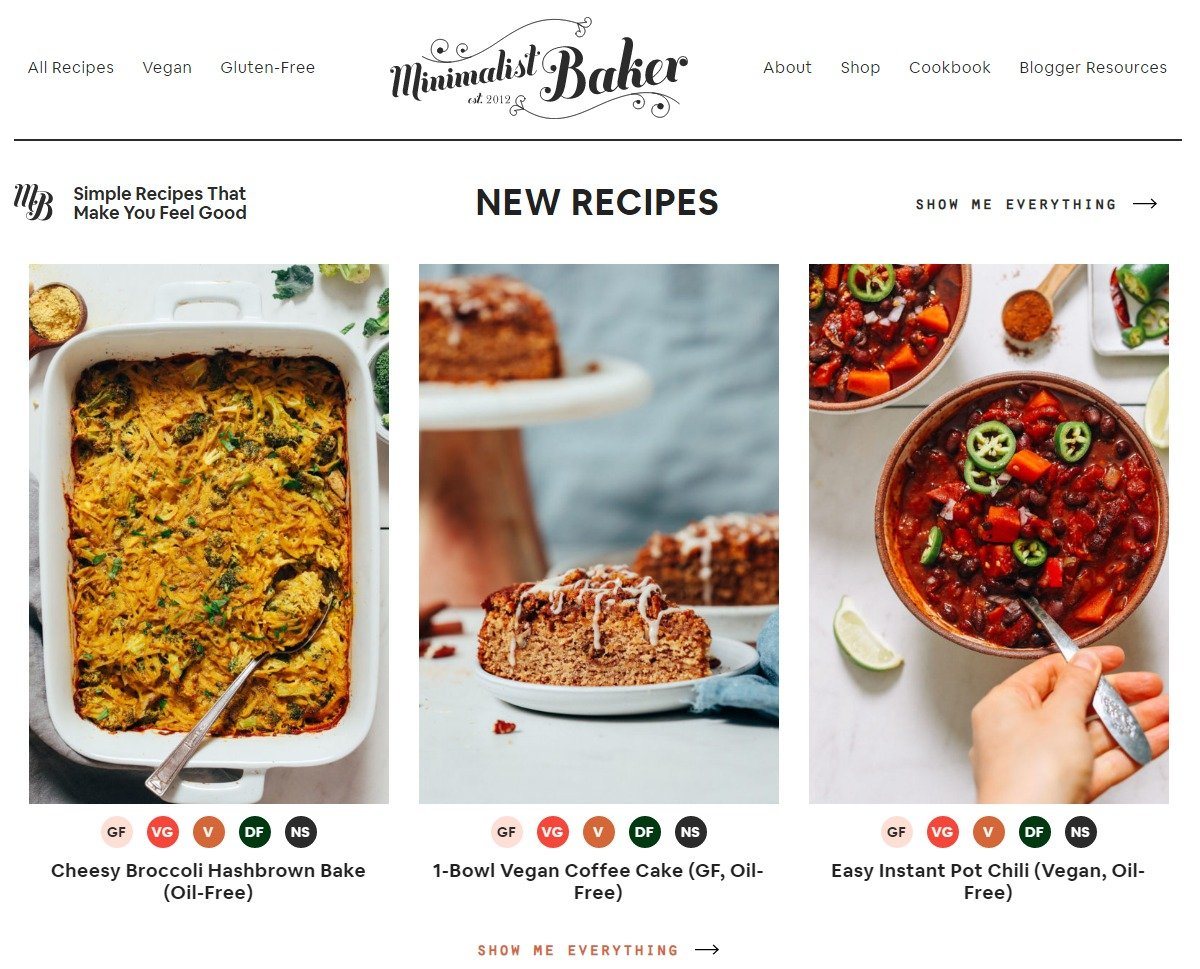 Popular personal blogs to follow, Minimalist bakers