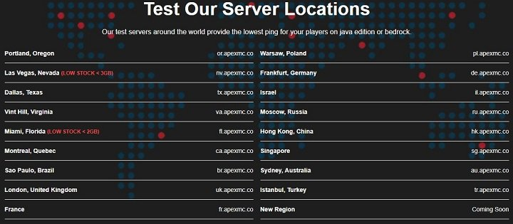 Apex Hosting Review, Apex Hosting Server Locations