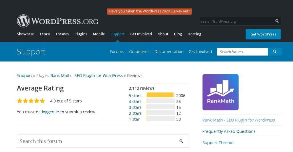 rank math actual user ratings on WordPress