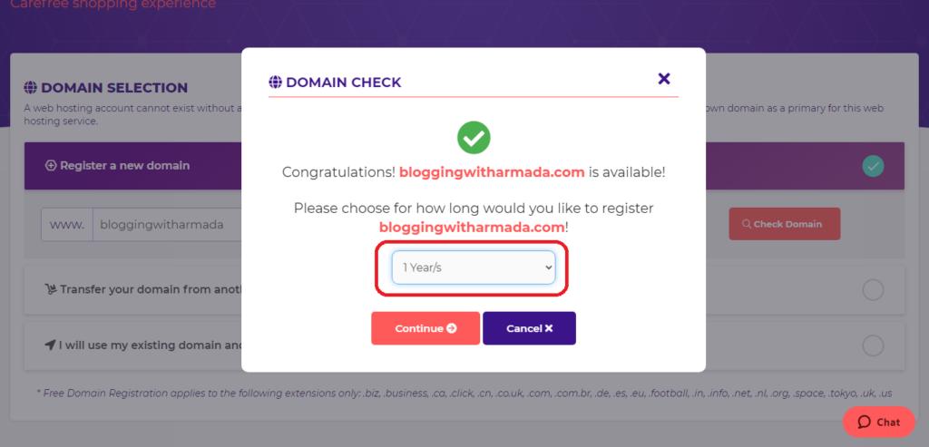 select domain plan, hostarmada
