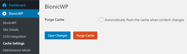 bionicwp purge cache