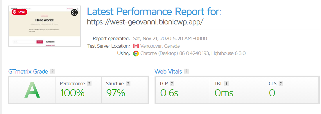bionicwp speed test using gtmetrix