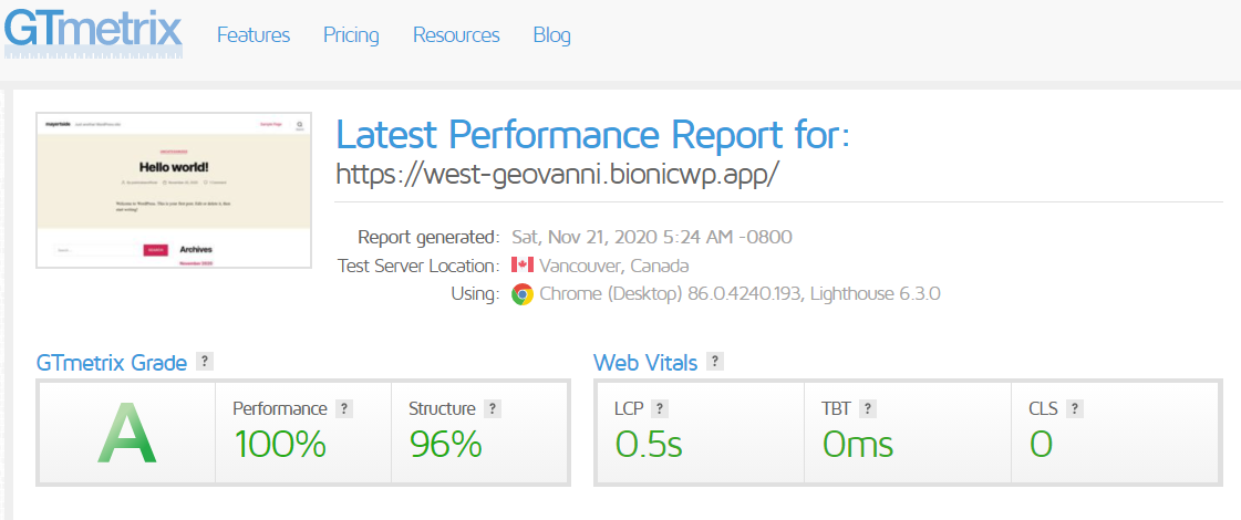 bionicwp speed test with cdn and nitro pack using gtmetrix