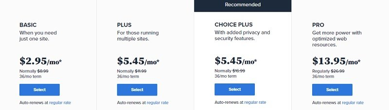 bluehost products