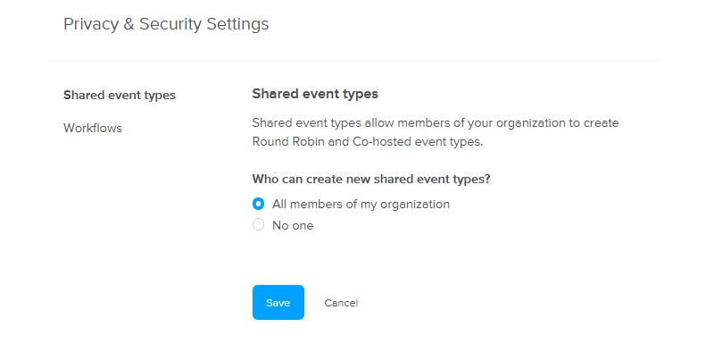 calendly security settings