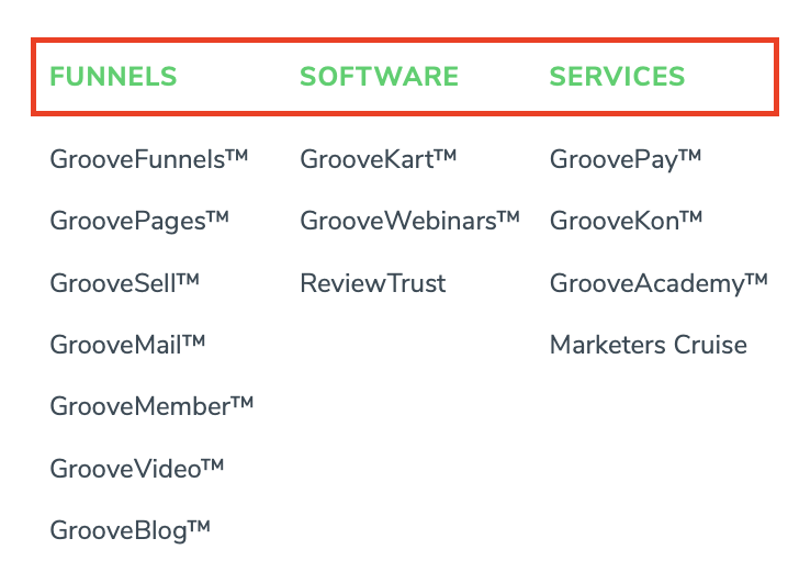 GrooveFunnel and GroovePages Products