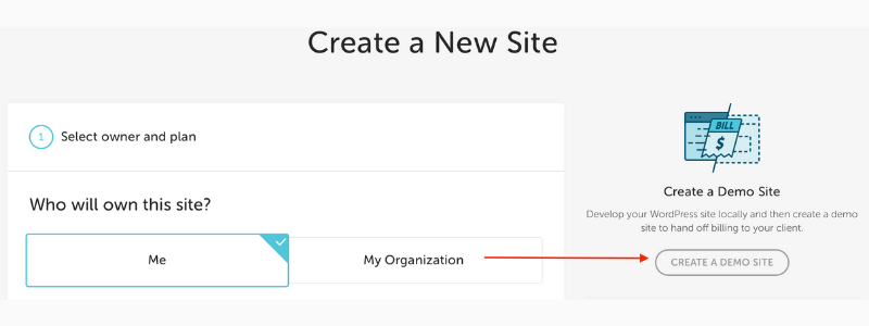 step 2 how to create a demo site on flywheel