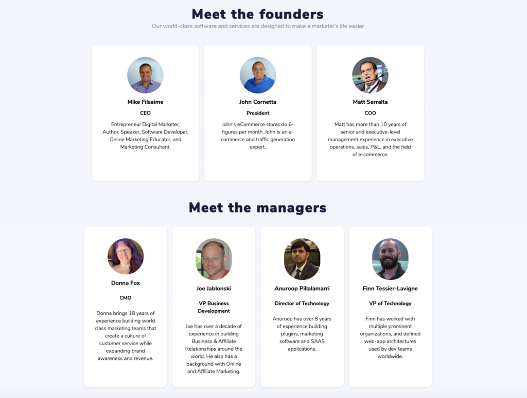 GrooveFunnels team and founding members