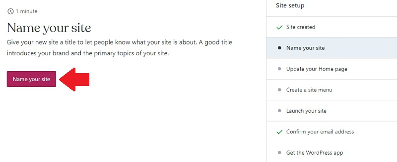 set the name of your site on wordpress