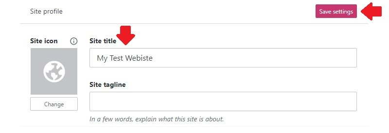 update name of wordpress site