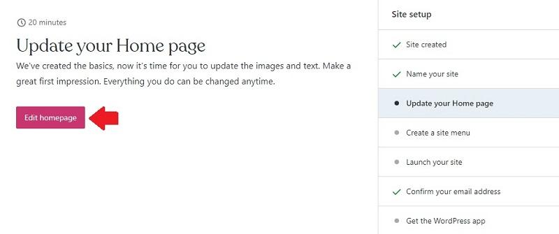 update wordpress homepage