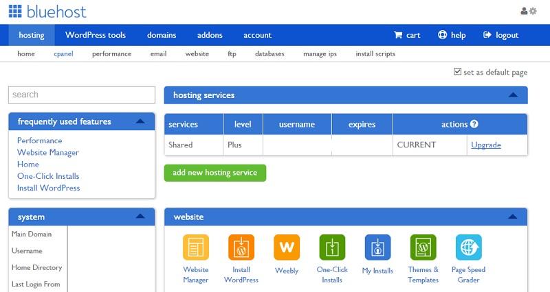 bluehost dashboard