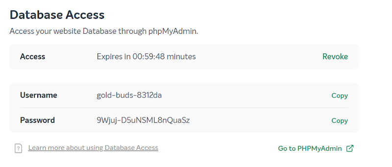 easywp database access