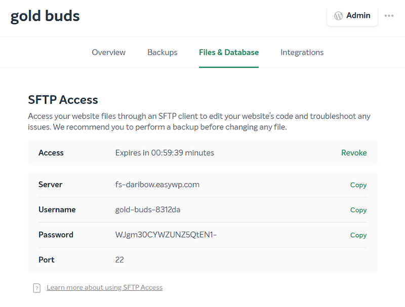 easywp sftp access and details