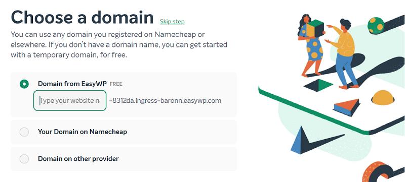 namecheap easywp choose a domain