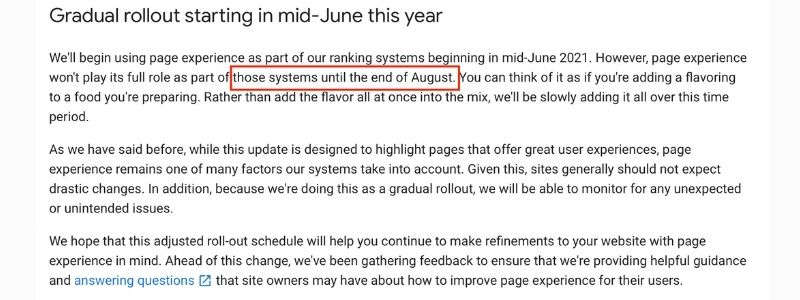 page experience roll out date