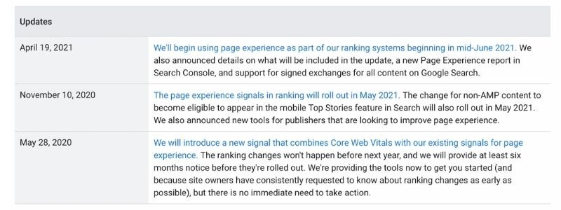 pageexperience report update